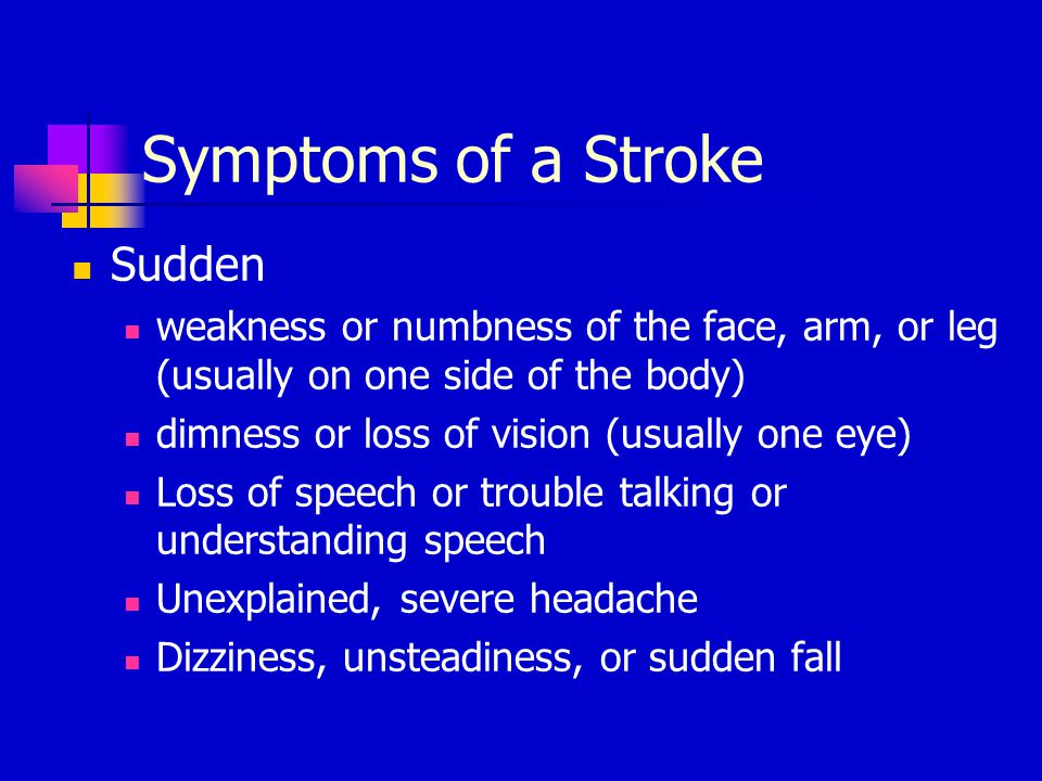 Symptoms of a Stroke Sudden