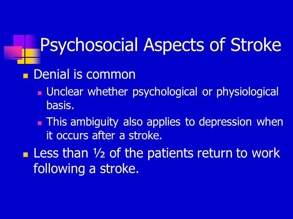 Psychosocial Aspects of Stroke
