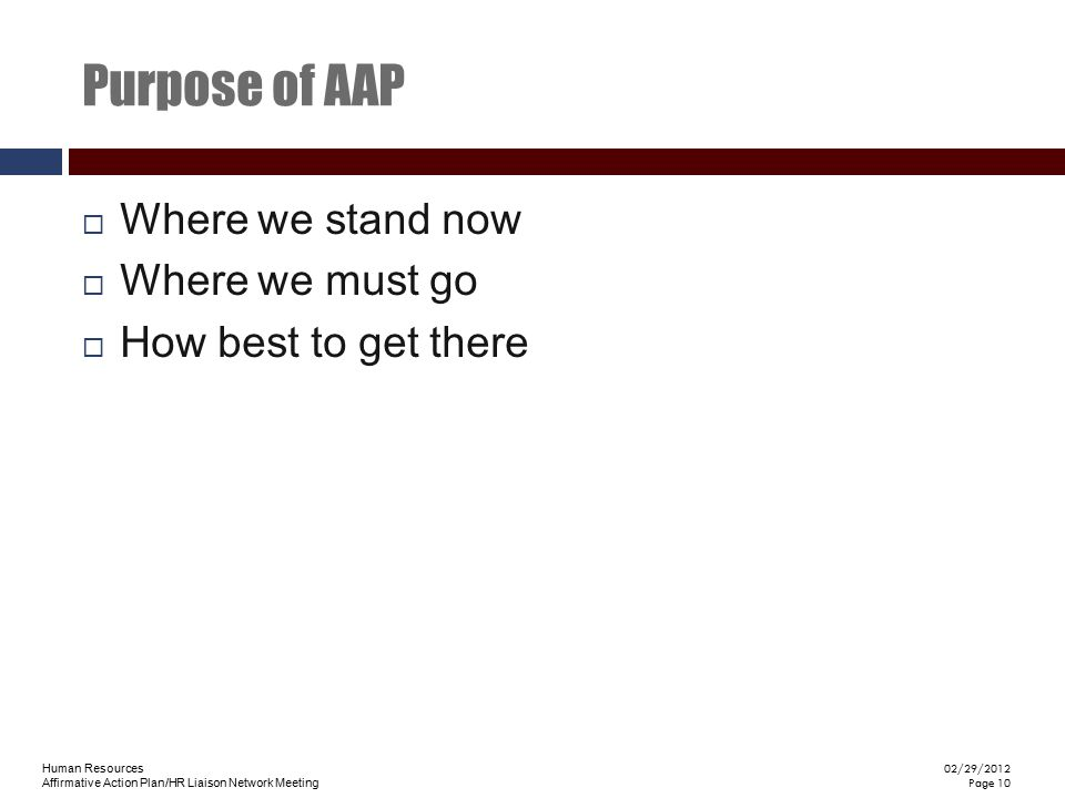 Purpose of AAP Where we stand now Where we must go