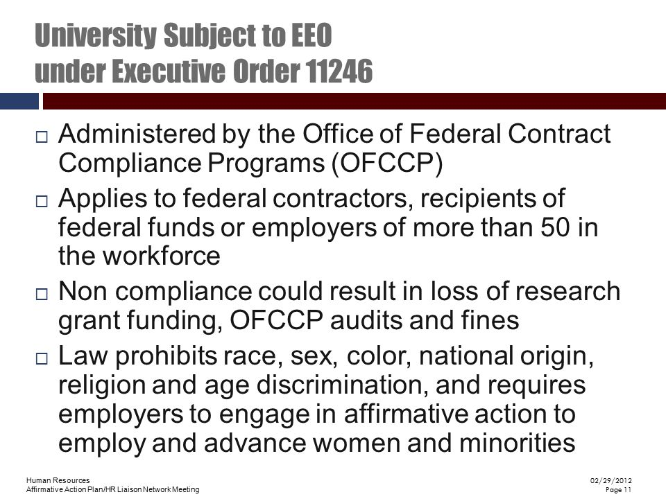 University Subject to EEO under Executive Order 11246