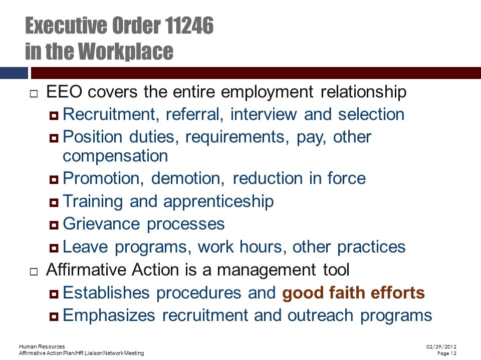 Executive Order 11246 in the Workplace