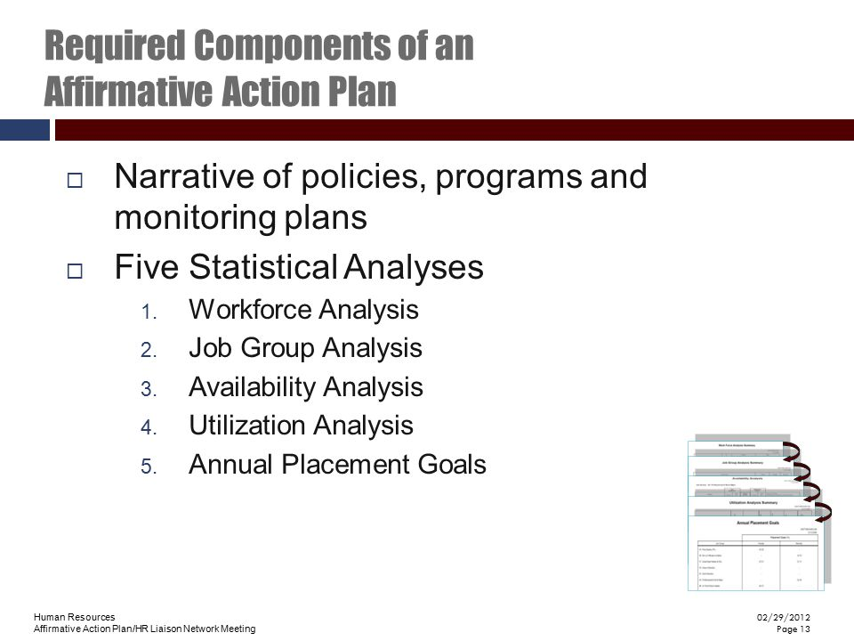 Required Components of an Affirmative Action Plan