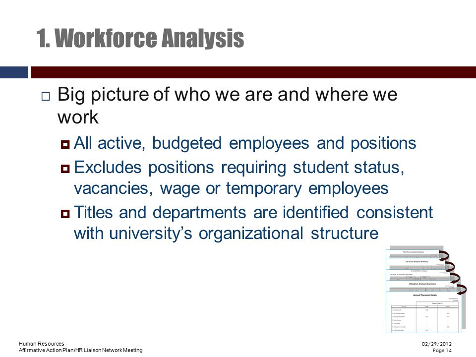 1. Workforce Analysis Big picture of who we are and where we work