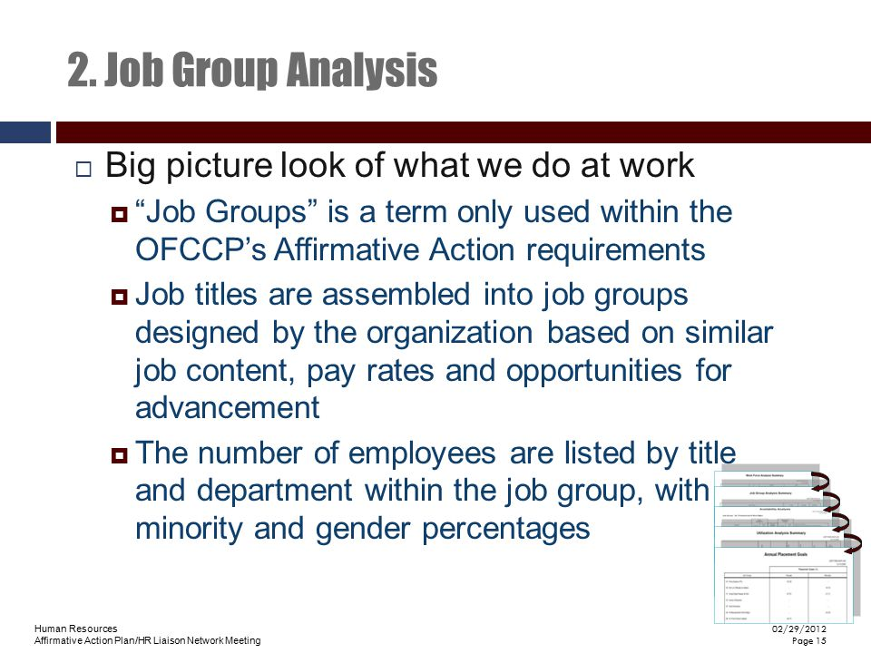 2. Job Group Analysis Big picture look of what we do at work
