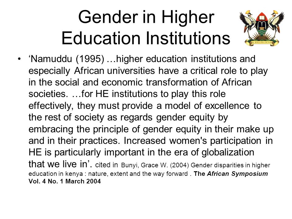 Gender in Higher Education Institutions