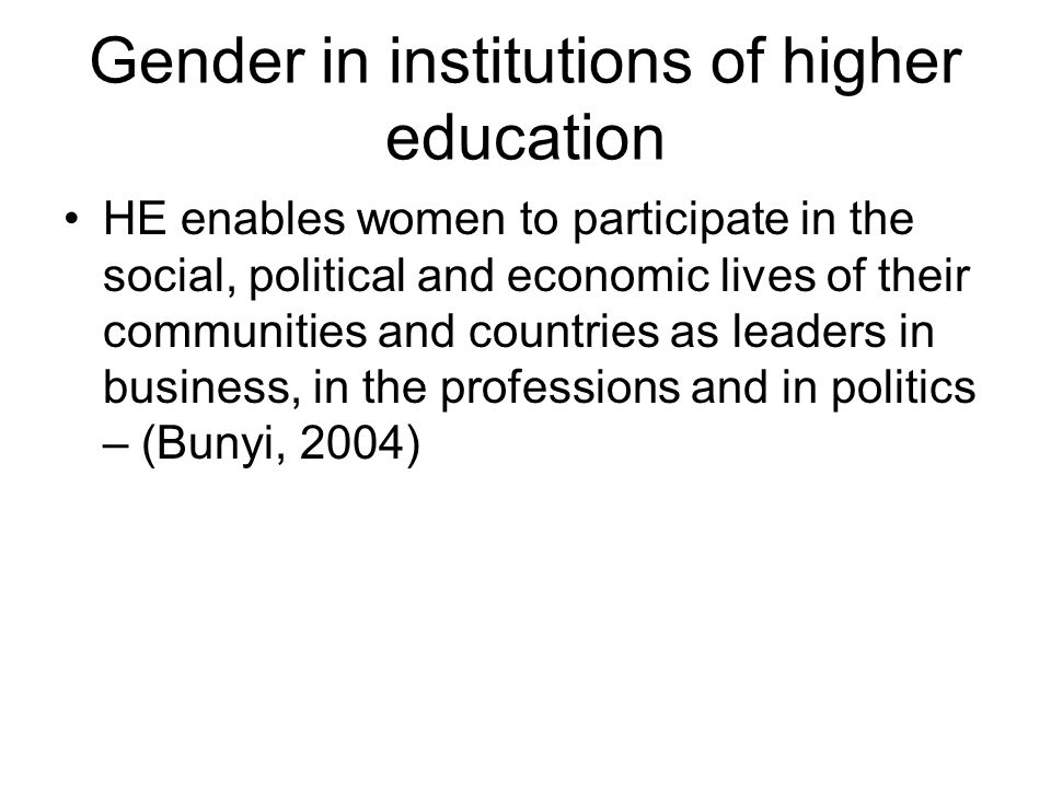 Gender in institutions of higher education