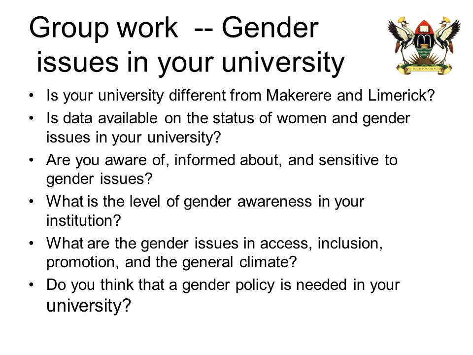 Group work -- Gender issues in your university
