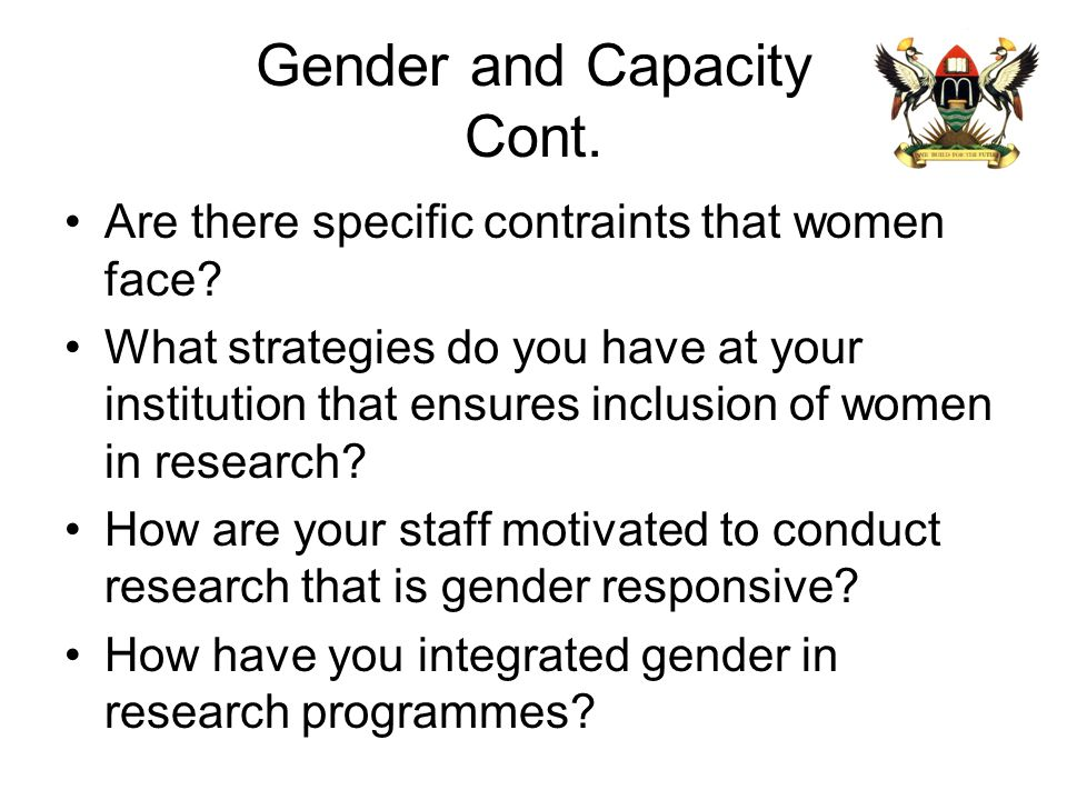 Gender and Capacity Cont.