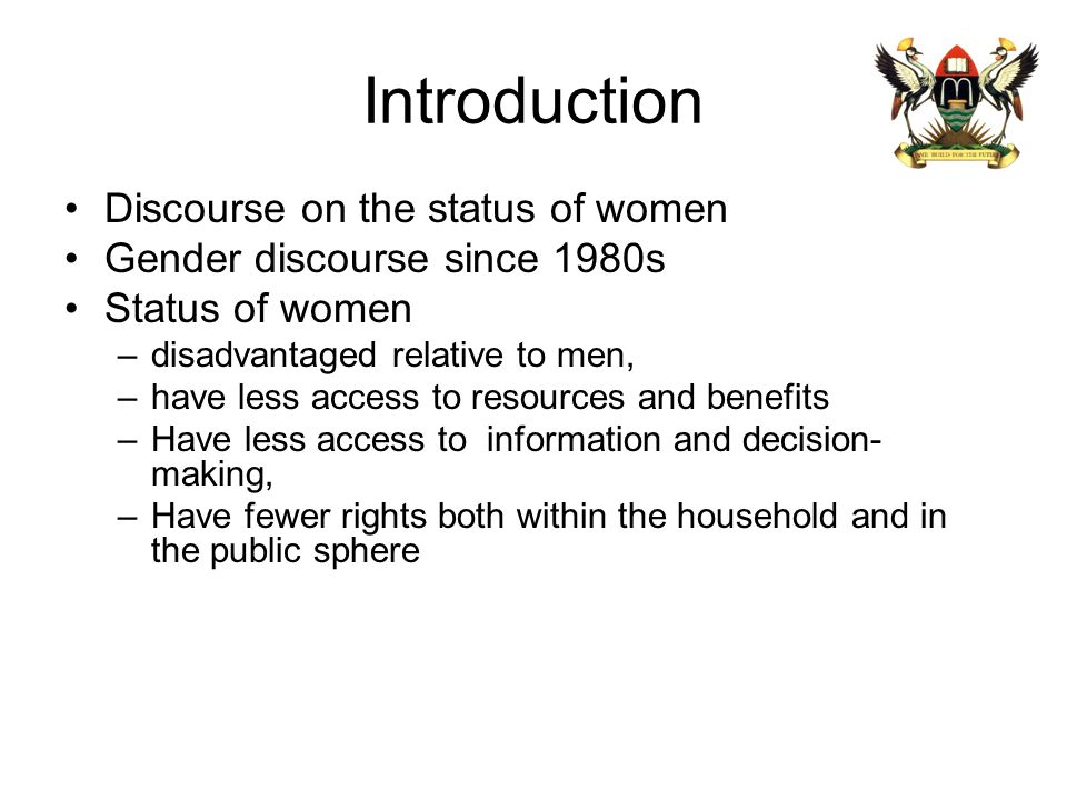 Introduction Discourse on the status of women
