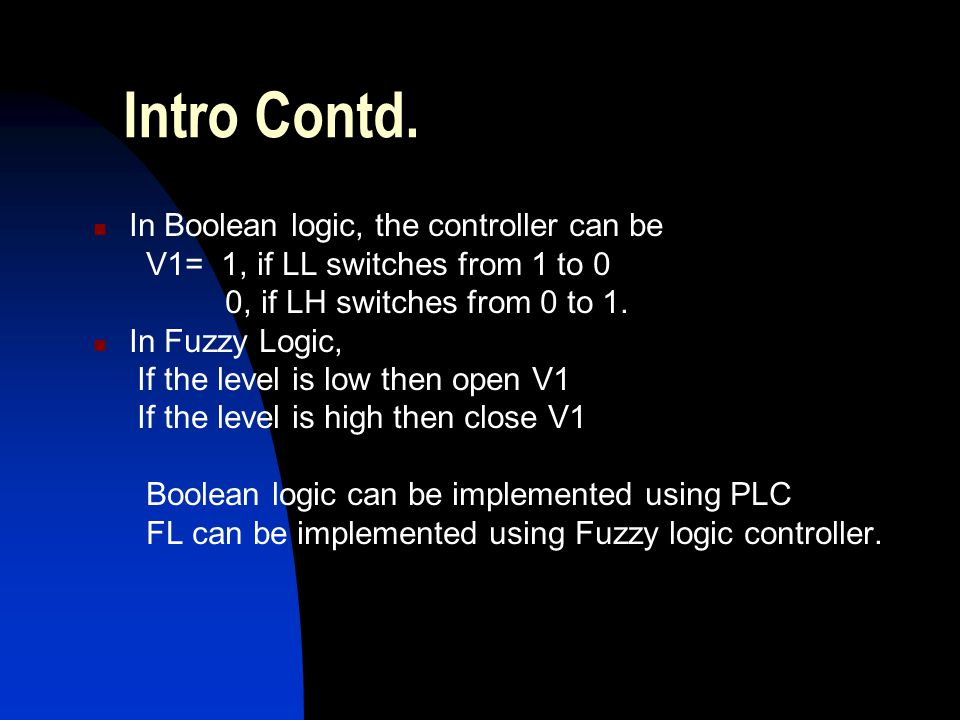 Intro Contd. In Boolean logic, the controller can be