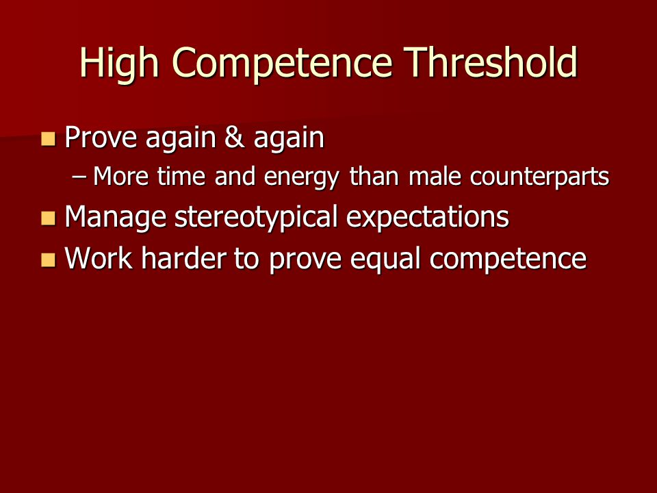 High Competence Threshold
