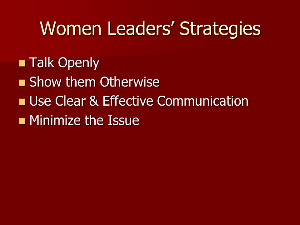 Women Leaders' Strategies