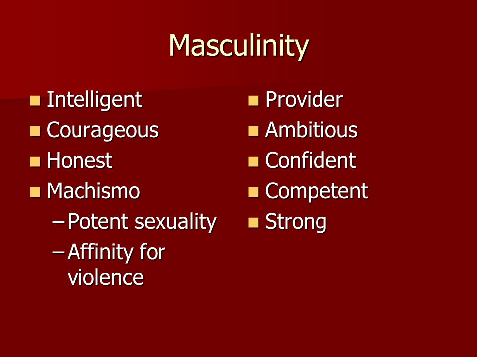 Masculinity Intelligent Courageous Honest Machismo Potent sexuality
