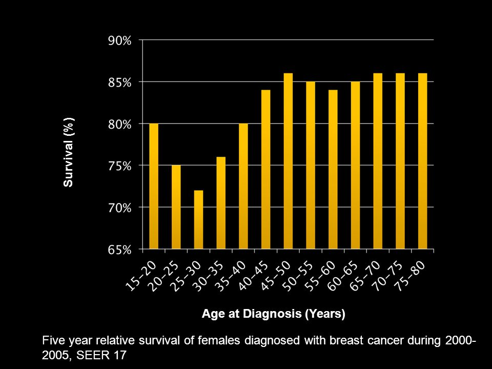 Survival (%) Age at Diagnosis (Years) Five year relative survival of females diagnosed with breast cancer during 2000-2005, SEER 17.