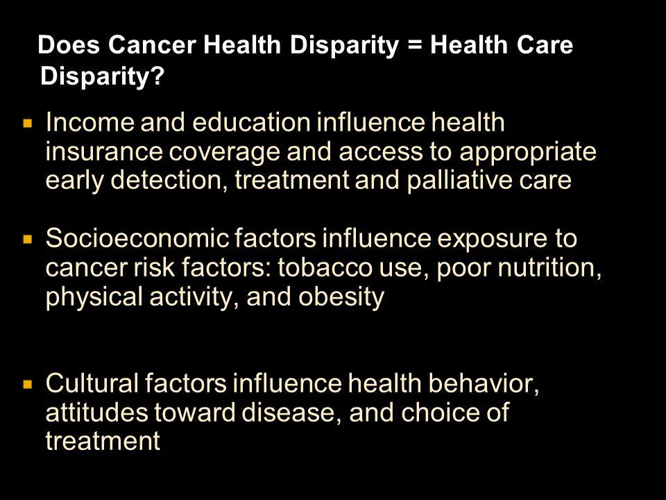 Does Cancer Health Disparity = Health Care Disparity