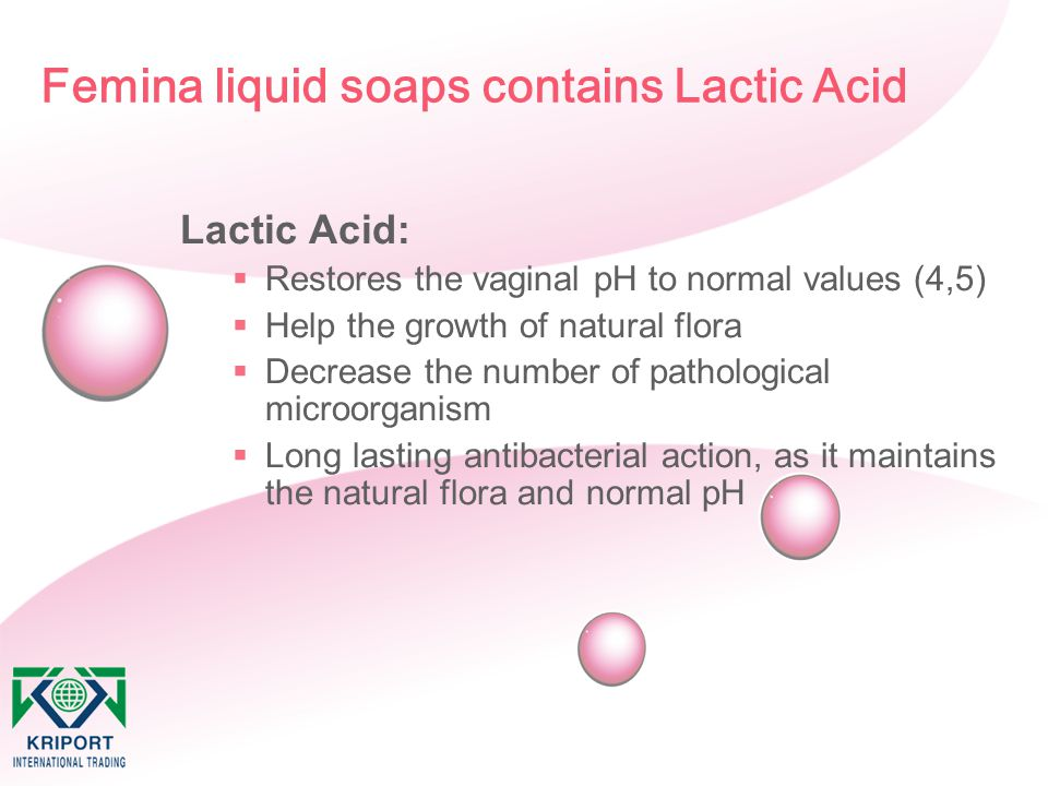Femina liquid soaps contains Lactic Acid