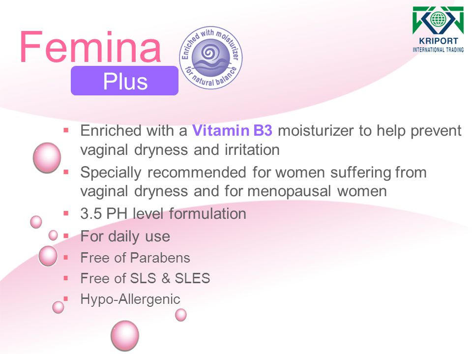 Femina Plus. Enriched with a Vitamin B3 moisturizer to help prevent vaginal dryness and irritation.