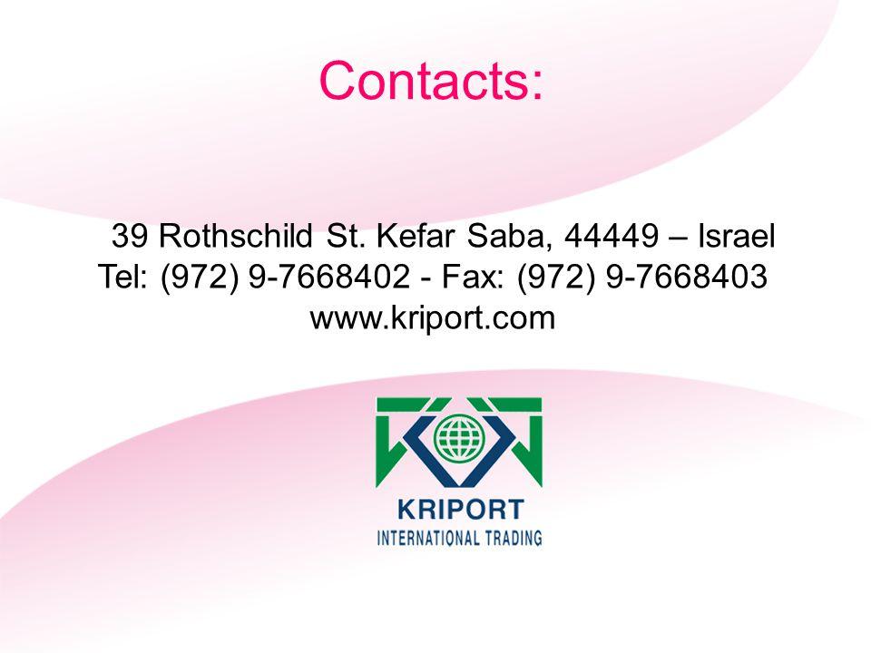 39 Rothschild St. Kefar Saba, 44449 – Israel