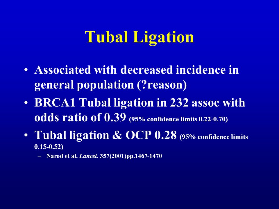 Tubal Ligation Associated with decreased incidence in general population ( reason)