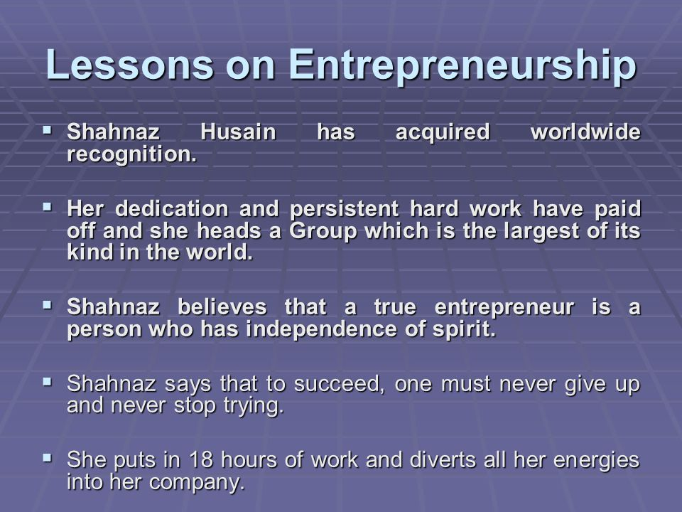 Lessons on Entrepreneurship