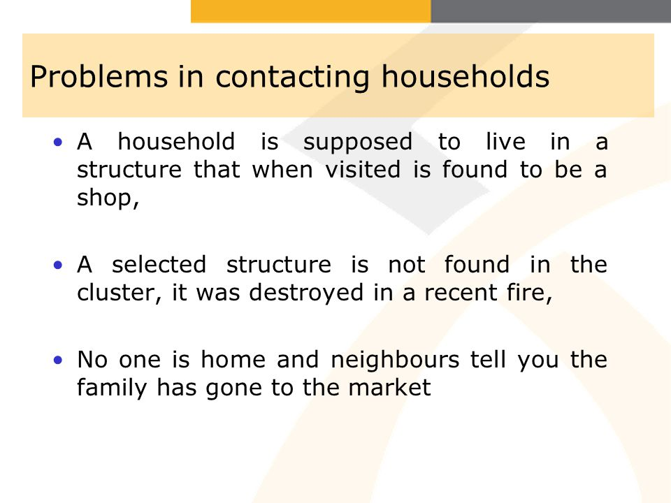 Problems in contacting households