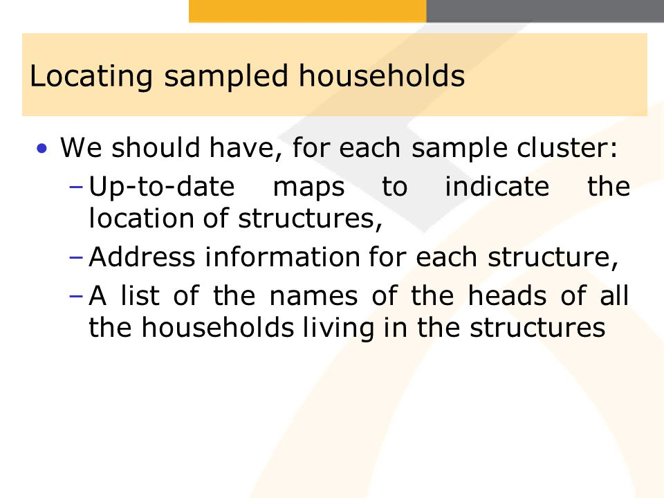 Locating sampled households
