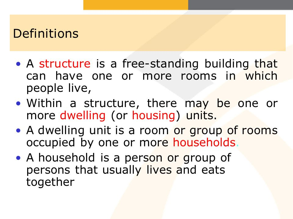 Definitions A structure is a free-standing building that can have one or more rooms in which people live,