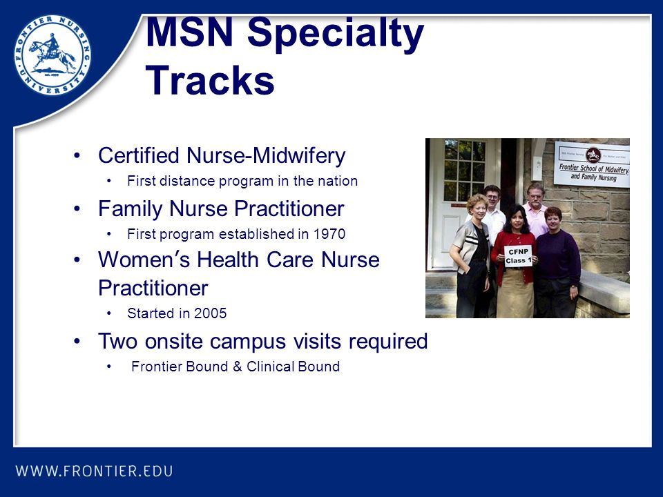 MSN Specialty Tracks Certified Nurse-Midwifery