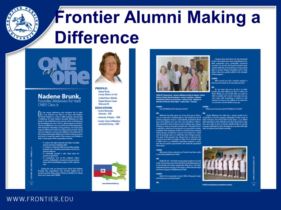 Frontier Alumni Making a Difference
