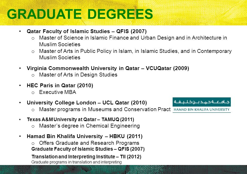 GRADUATE DEGREES Qatar Faculty of Islamic Studies – QFIS (2007)