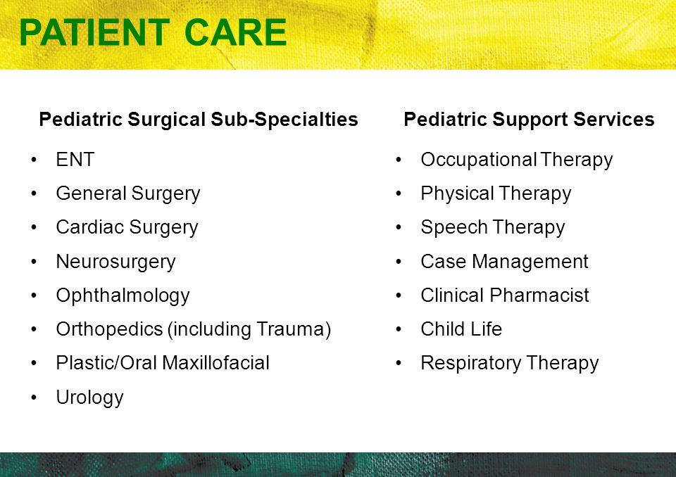 Patient Care Pediatric Surgical Sub-Specialties ENT General Surgery