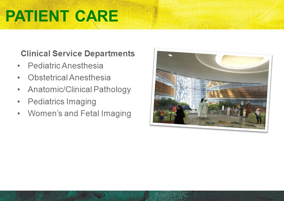 Patient Care Clinical Service Departments Pediatric Anesthesia