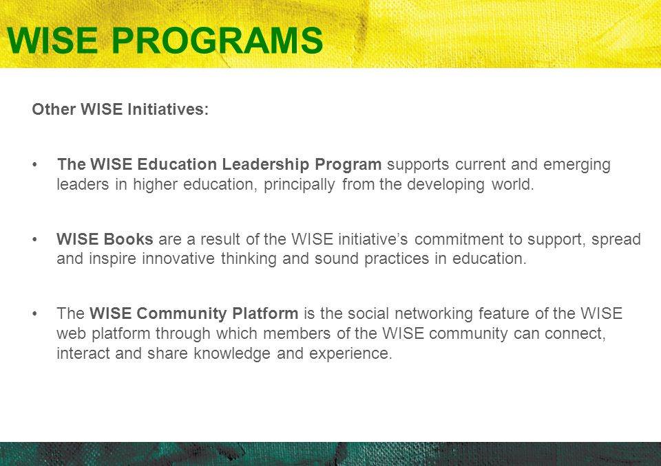 WISE PROGRAMS Other WISE Initiatives: