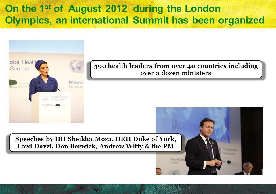 4/10/2017 On the 1st of August 2012 during the London Olympics, an international Summit has been organized.