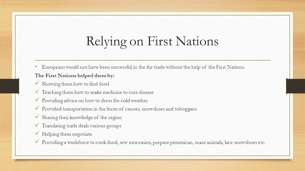 Relying on First Nations