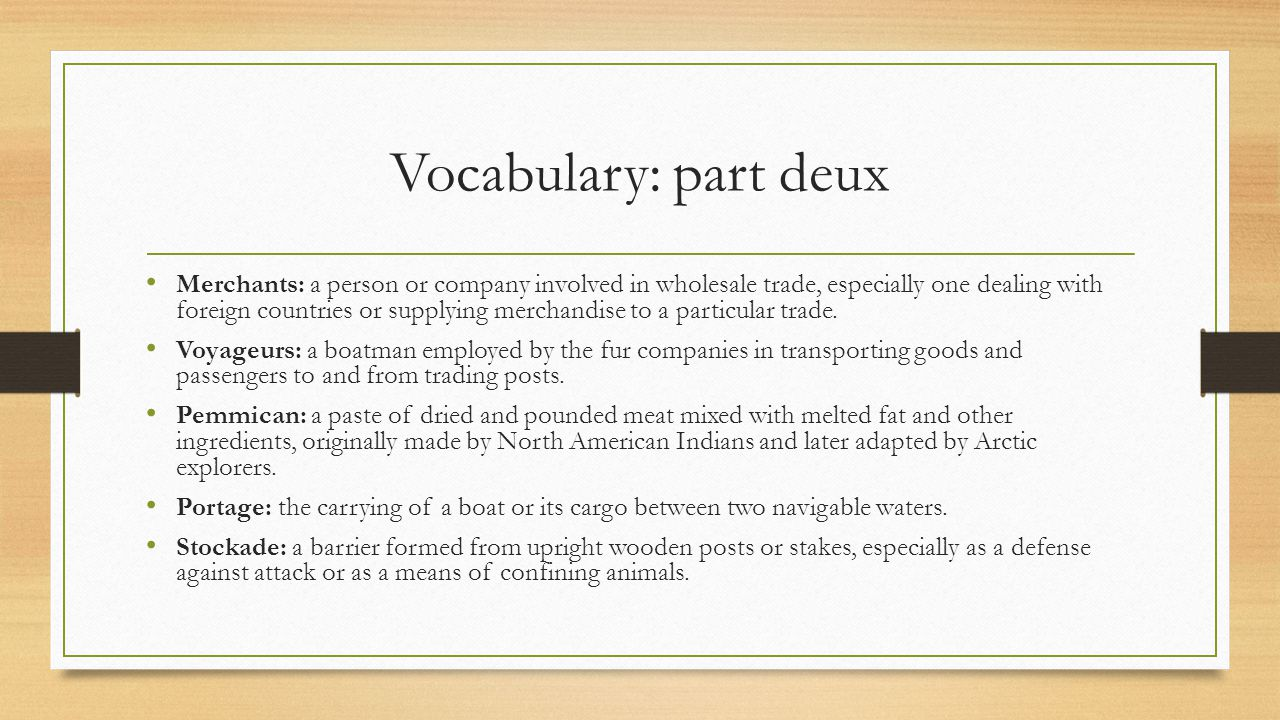 Vocabulary: part deux