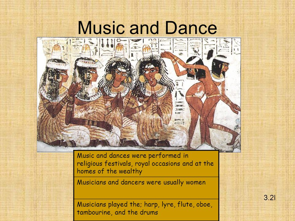 Music and Dance Music and dances were performed in religious festivals, royal occasions and at the homes of the wealthy.