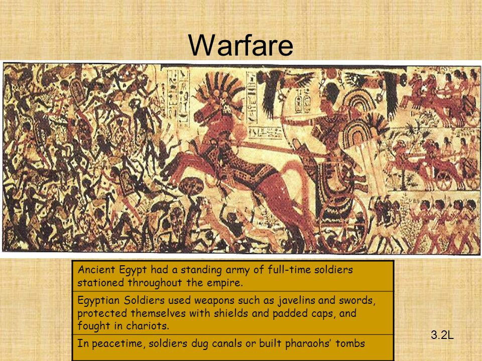 Warfare Ancient Egypt had a standing army of full-time soldiers stationed throughout the empire.