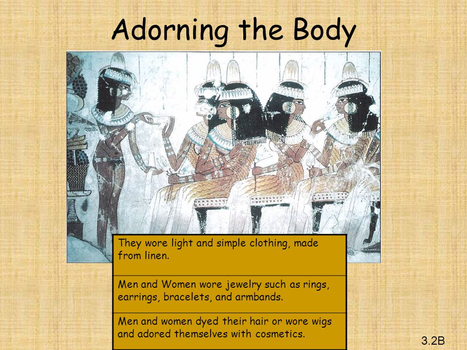 Adorning the Body They wore light and simple clothing, made from linen. Men and Women wore jewelry such as rings, earrings, bracelets, and armbands.