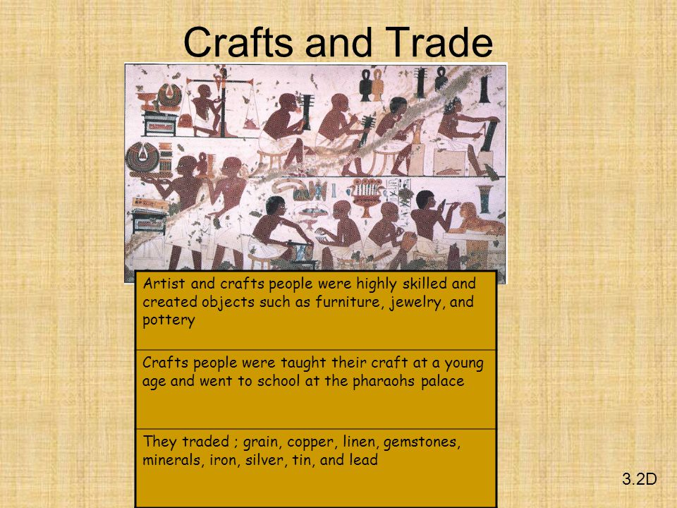 Crafts and Trade Artist and crafts people were highly skilled and created objects such as furniture, jewelry, and pottery.