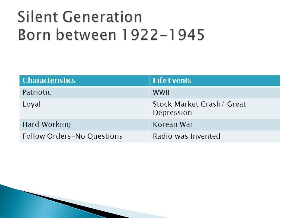 Silent Generation Born between 1922-1945