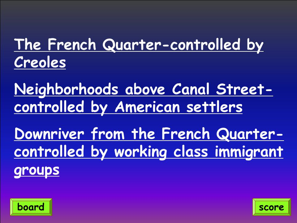 The French Quarter-controlled by Creoles
