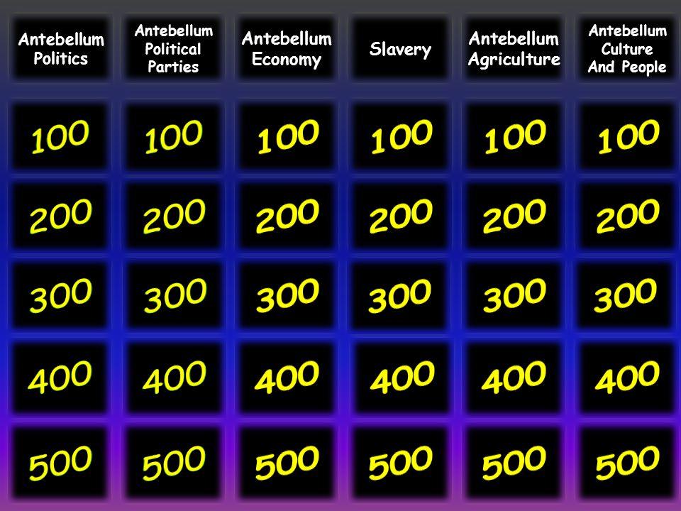 Antebellum Politics. Antebellum. Political. Parties. Antebellum. Economy. Slavery. Antebellum.