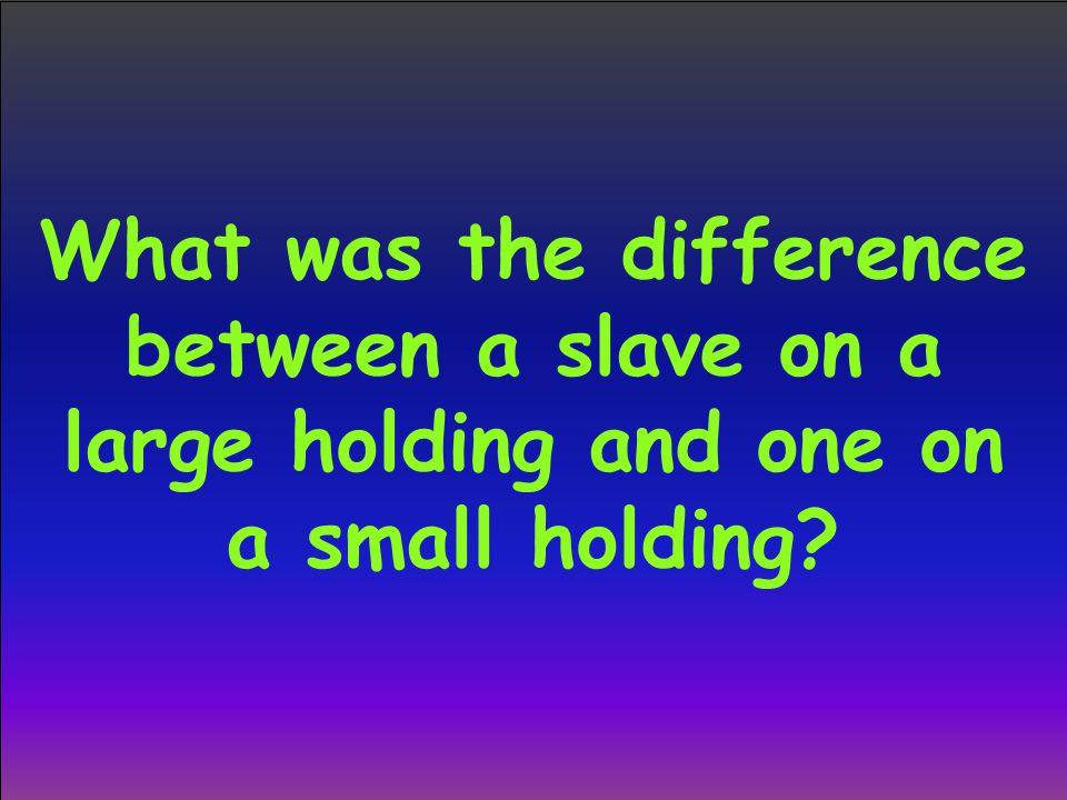 What was the difference between a slave on a large holding and one on a small holding