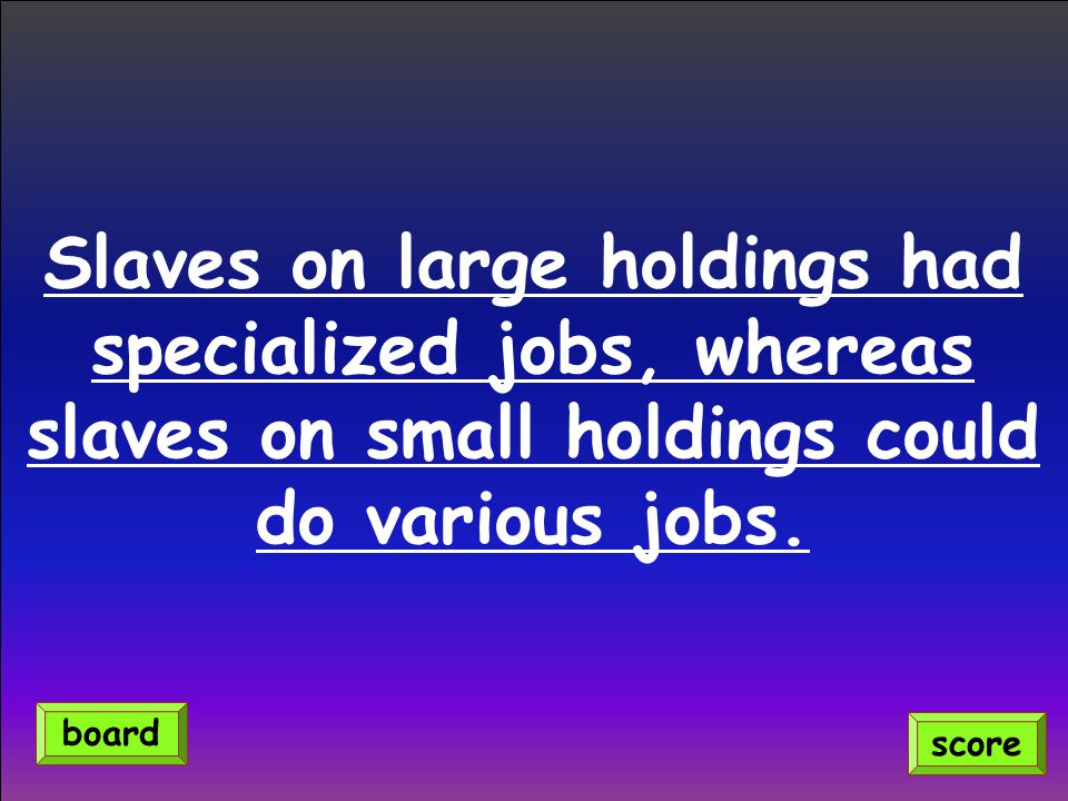 Slaves on large holdings had specialized jobs, whereas slaves on small holdings could do various jobs.
