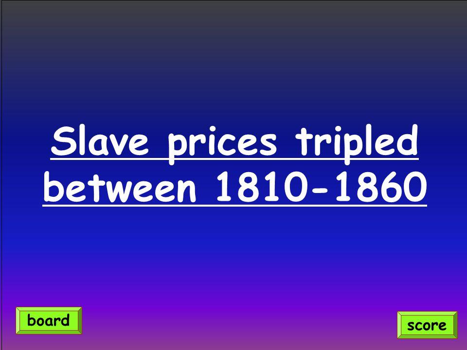 Slave prices tripled between 1810-1860