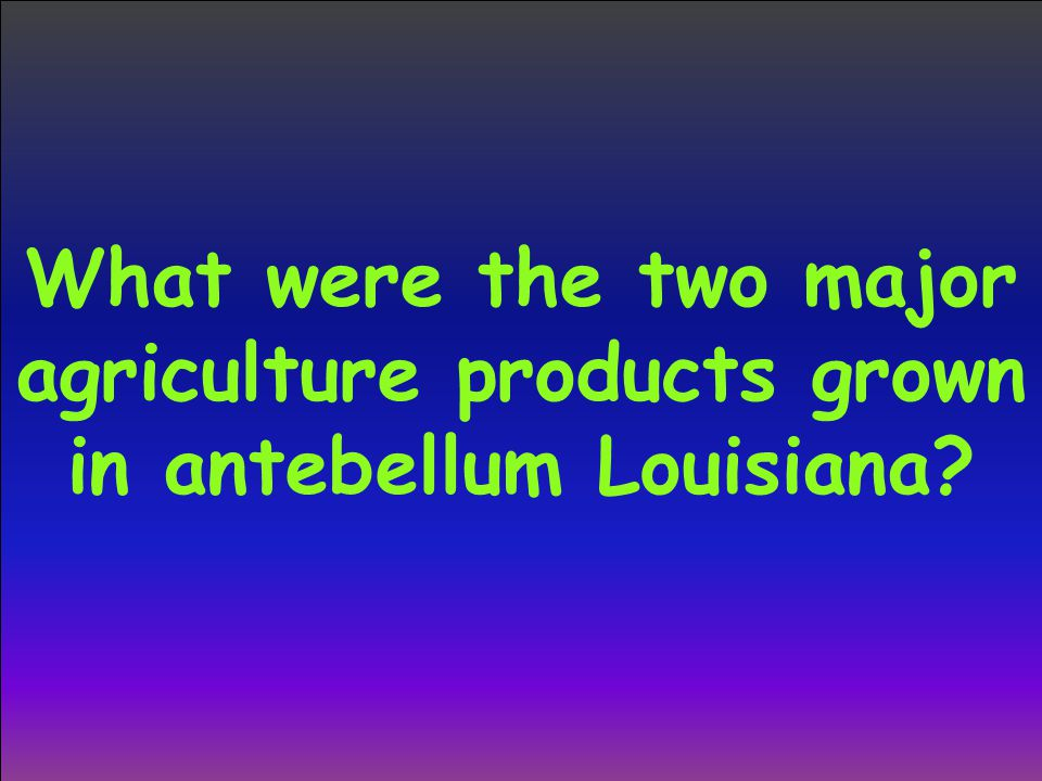 What were the two major agriculture products grown in antebellum Louisiana