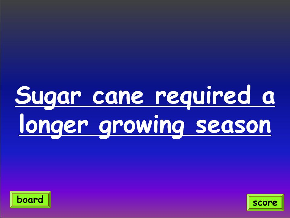 Sugar cane required a longer growing season