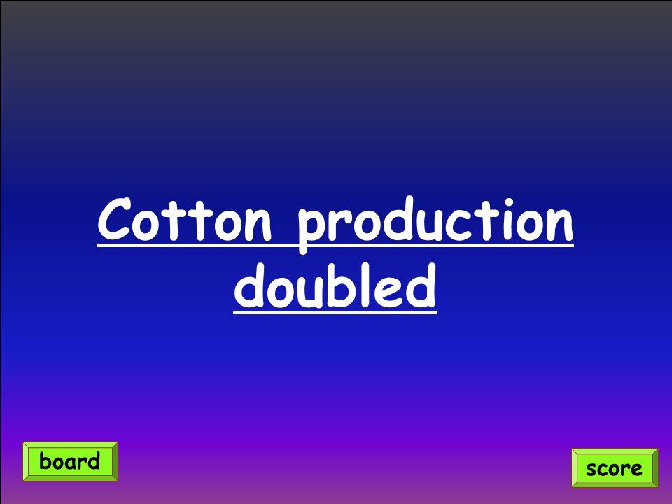 Cotton production doubled