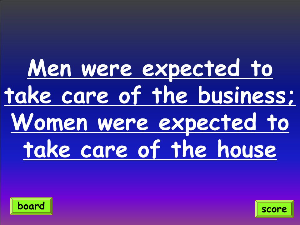 Men were expected to take care of the business;